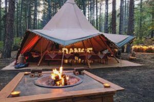 Can you put a tent over a fire pit